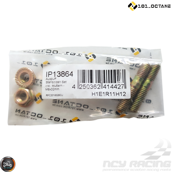 101-Octane Exhaust Studs +Nuts M6x32mm Set (QMB, GY6)