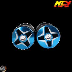 NCY Throttle Grip 7/8in Aluminum Rhinestone Turquoise Set (GY6, Ruckus, Universal)