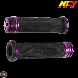 NCY Throttle Grip 7/8in Aluminum Rhinestone Purple Set (GY6, Ruckus, Universal)