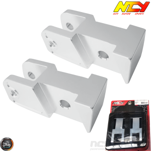 NCY Shock Relocating Bracket Silver Set (QMB, GY6, Universal)