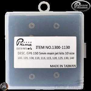 Prima CVK Main Jet 100-140 10-Pcs Kit (139QMB, GY6)